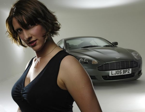 Female Model with a 2005 Aston Martin DB9