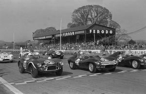 Aston Martin DB3S Stirling Moss, start of Goodwood International Sports car race 2.4.1956