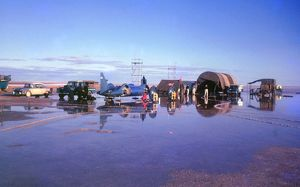 Bluebird camp flooded on Lake Eyre 1963