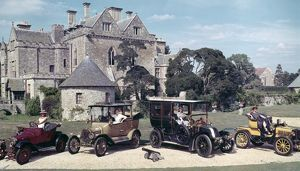 Group of Veteran and Vintage cars outsside Palace House, Beaulieu