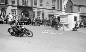 HRD, FW Dixon during 1927 Isle of Man Junior TT race, Ramsey Parliament Square