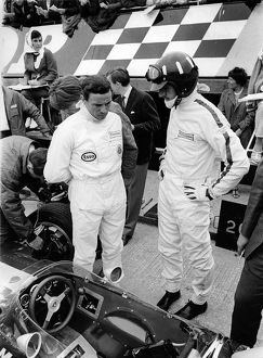 Jim Clark and Graham Hill with Lotus 49 during 1967 British Grand Prix