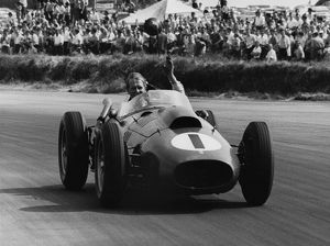 Peter Collins lap of honour after winning the 1958 British GP for Ferrari