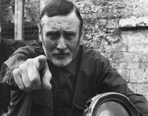 Spike Milligan on motorcycle during visit to Beaulieu 1968