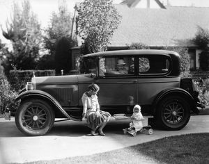 Stan Laurel at the wheel of 1927 Hupmobile